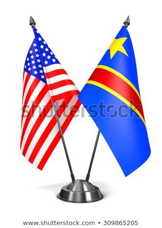 USA demokratischen Republik Kongo Miniatur Fahnen Stock foto © tashatuvango