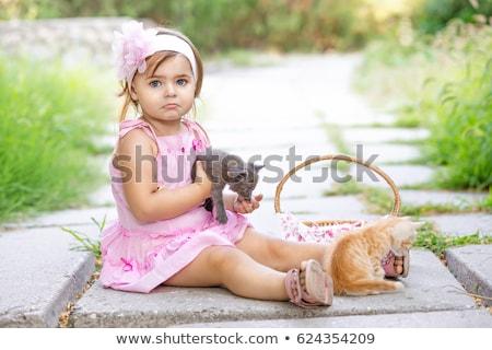 lány · rózsaszín · ruha · kiscica · kislány · hosszú - stock fotó © nizhava1956