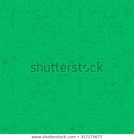 thin line holiday thanksgiving dinner seamless green pattern stock photo © anna_leni