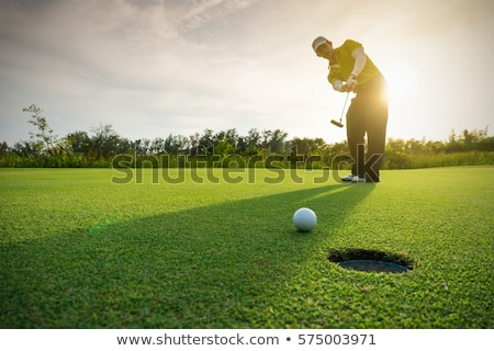 Golf player on a green course and hole stock photo © jordanrusev