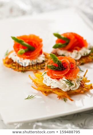 Potato Latkes and sour cream, vertical. Stock photo © rojoimages