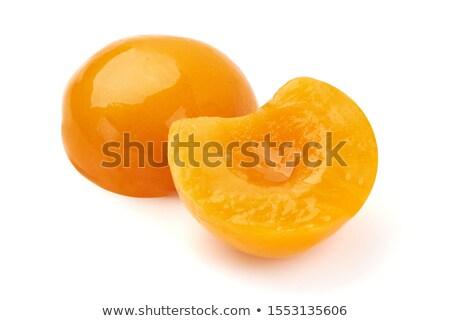 Pêssegos xarope descascado branco prato Foto stock © nito