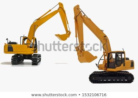 Yellow excavator isolated on white Stock photo © jordanrusev
