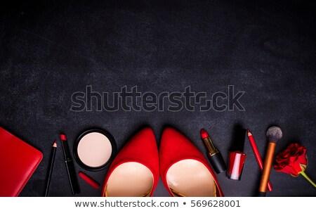 ayakkabı · parlak · siyah · fırçalamak · sarı - stok fotoğraf © frescomovie