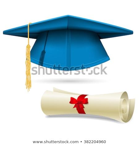 Cyan диплом окончания Cap бумаги студент Сток-фото © Winner