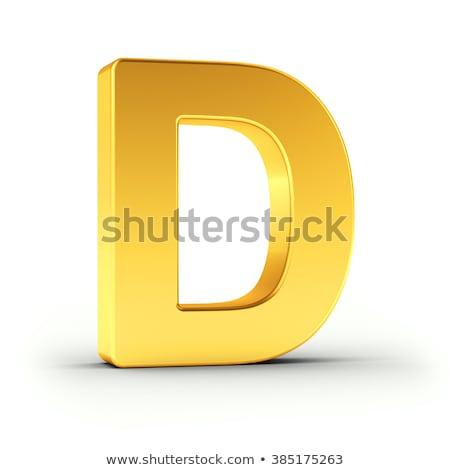 D betű csiszolt arany tárgy vágási körvonal fehér Stock fotó © creisinger
