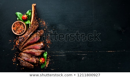 grillezett · steak · friss · koktélparadicsom · oldal · piros - stock fotó © karandaev