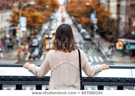 turista · nő · áll · város · városkép · lány - stock fotó © Kzenon