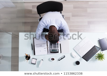 бизнесмен · спальный · столе · спящий · устал · компьютер - Сток-фото © deandrobot