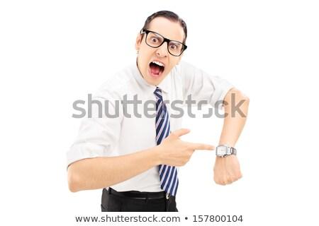 Mérges főnök mutat karóra vektor terv Stock fotó © RAStudio