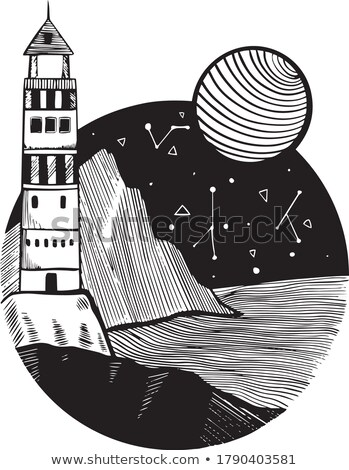 nautical lighthouse tower at stone rocks hill vector illustration stock photo © loopall