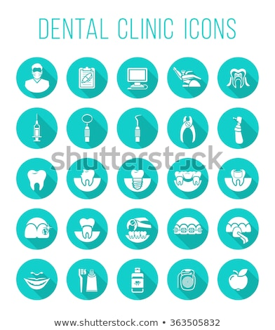 Сток-фото: Dental Clinic Services Flat Silhouettes Icons