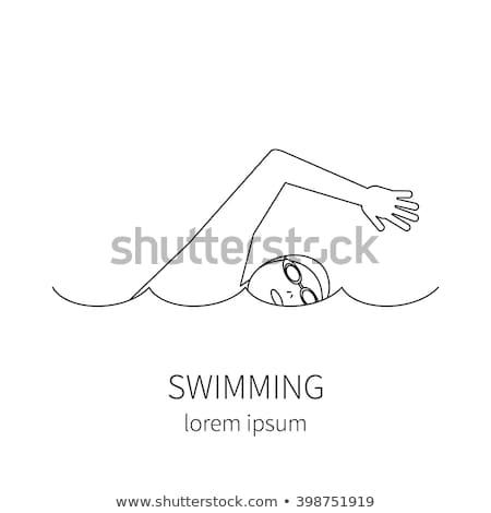 Proste rysunek człowiek pływanie ilustracja biały Zdjęcia stock © bluering