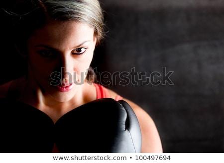 Gyönyörű női boxoló mosoly fiatal vonzó Stock fotó © Aikon