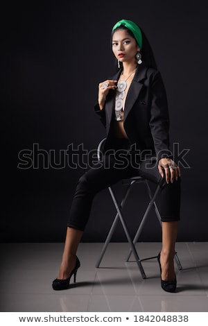 Beauty fashion brunette with black Fashionable jewelry set, ring Stock photo © Victoria_Andreas