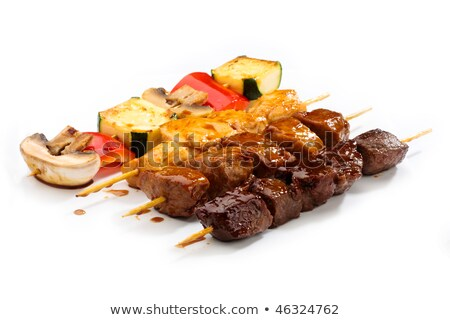 barbecue prepared beef meat and different vegetables and mushrooms on grill stock photo © zurijeta