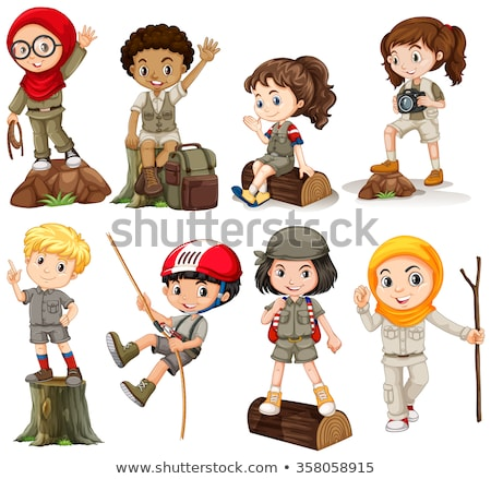 Boys and girls in camping outfit Stock photo © bluering