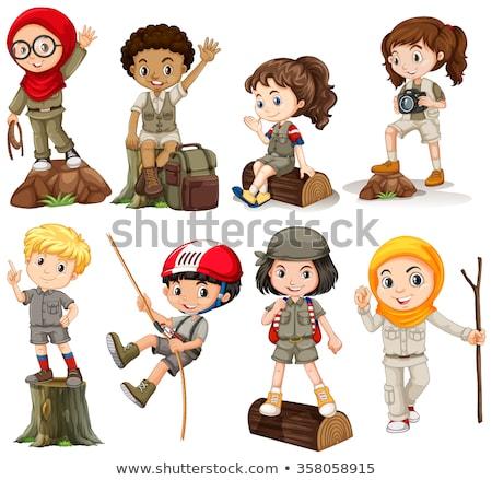 crianças · camping · criança · fundo · arte · amigos - foto stock © bluering