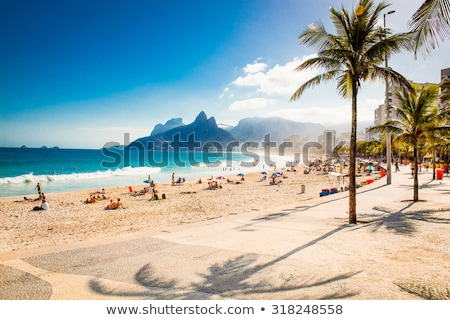 Photo stock: Deux · personnes · plage · illustration · paysage · fond