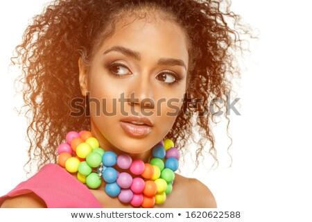 jonge · brunette · creatieve · make · prachtig · pauw - stockfoto © deandrobot