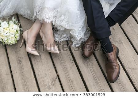 Casamento sapatos noivo preto terno sapato Foto stock © kb-photodesign
