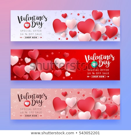 valentijnsdag · banners · man · handen · hart - stockfoto © sarts