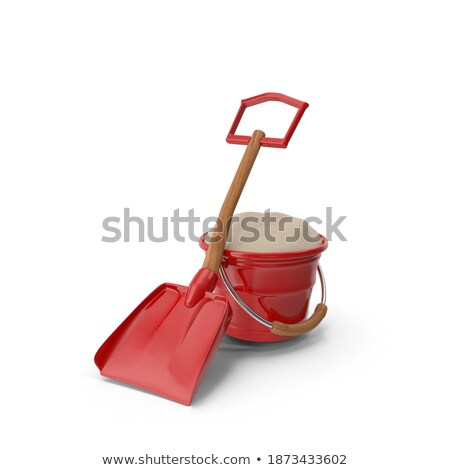 plastic toy spade and rake 3d stock photo © djmilic