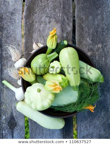 Virágzó cukkini zöldség kert szelektív fókusz közelkép Stock fotó © Yatsenko
