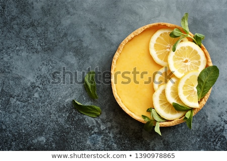 limón · tarta · delicioso · torta · mesa · de · madera · luz - foto stock © m-studio