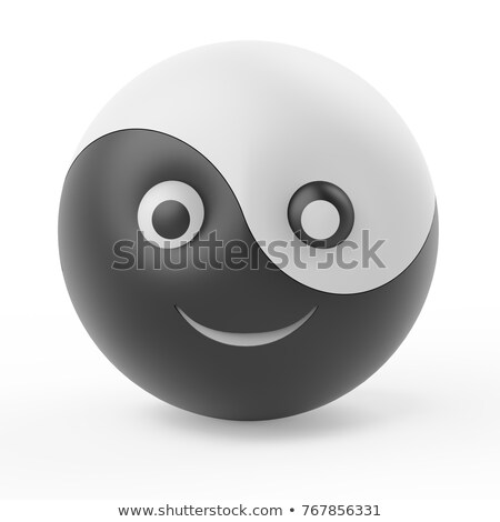 Desenho animado rosto sorridente yin yang símbolo sorridente Foto stock © adrian_n