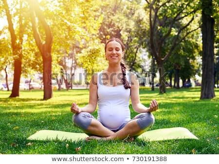 妊婦 · 瞑想 · 美しい · 座って · 石 · ピラミッド - ストックフォト © dariazu