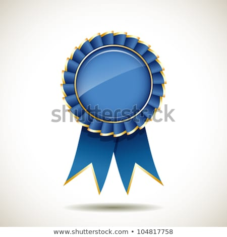 Blue And Gold Badge With Ribbons Award Vector Illustration Stok fotoğraf © Sarunyu_foto