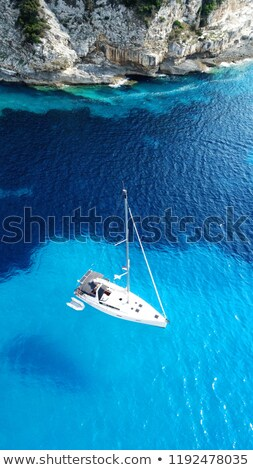 Zee golven zeilschip abstract donkere Blauw Stockfoto © stevanovicigor