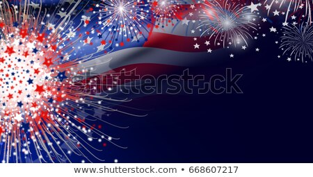 Stock photo: 4th of July holiday flag sign concept illustration