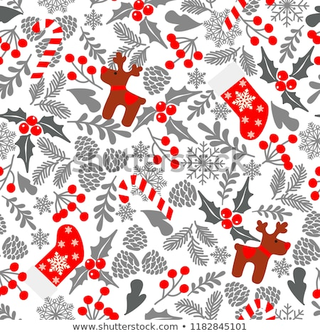 Christmas red deer doodle decoration background Stock photo © cienpies