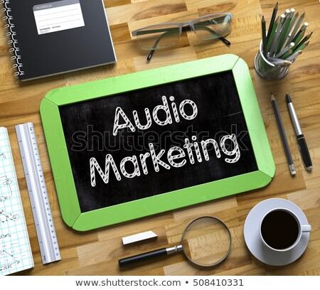audio optimization   text on small chalkboard 3d illustration stock photo © tashatuvango