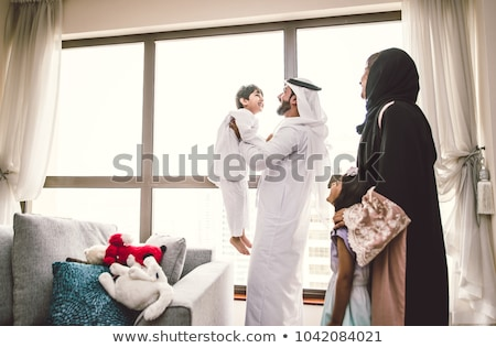 Stockfoto: Arab Family Is Happy Together Father Mother Daughter Son In