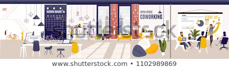 Stock photo: Vector flat style illustration of modern workplace. Job concept.
