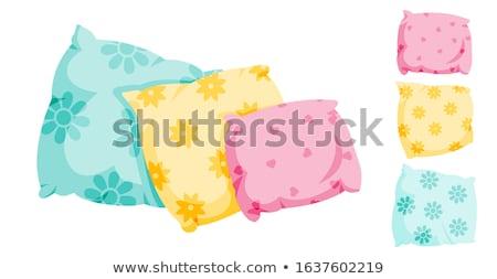 Cartoon kussen meubels kleur witte patroon Stockfoto © NikoDzhi
