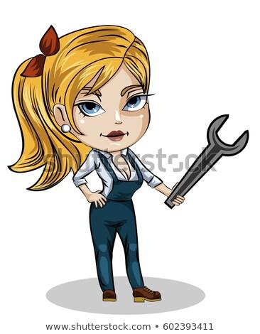 Stockfoto: Vrouwelijke · loodgieter · moersleutel · klusjesman · monteur