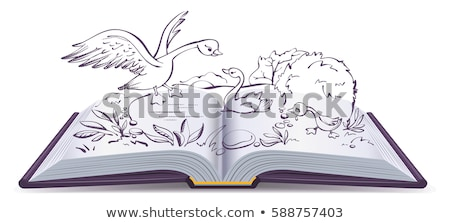 Stock photo: Illustration open book fairy tale of ugly duckling
