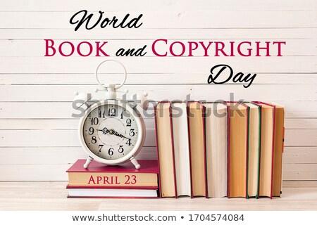 Libros derechos de autor día forma libro abierto símbolo Foto stock © Olena