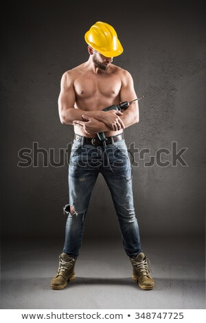 portrait of shirtless man standing with arms crossed stock photo © wavebreak_media