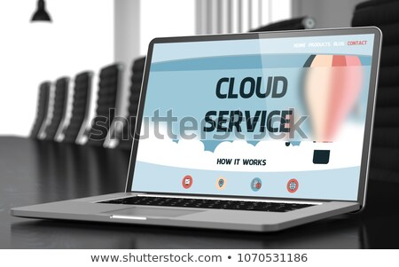 Felhő adat laptop konferenciaterem 3D közelkép Stock fotó © tashatuvango