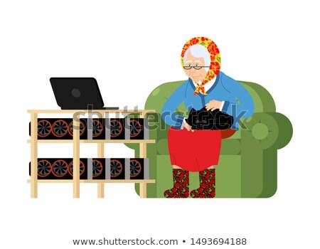 ラップトップを使用して · 家 · 笑顔 · インターネット · ノートパソコン - ストックフォト © popaukropa