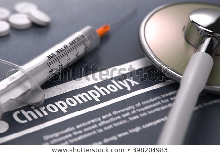 Nyomtatott diagnózis szürke elmosódott szöveg tabletták Stock fotó © tashatuvango