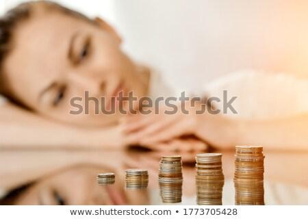улыбающаяся женщина Золотые монеты колонн счастливым знак Сток-фото © vlad_star