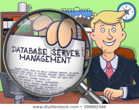 database server management through magnifier doodle concept stock photo © tashatuvango