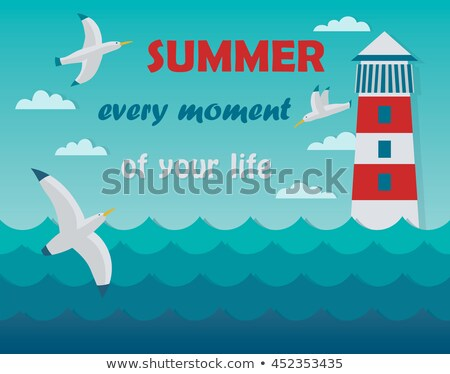 Stock photo: Flying Seagull and lighthouse