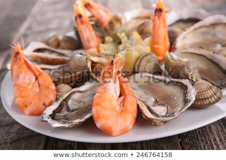 Camarão ostra comida natal fresco saudável Foto stock © M-studio